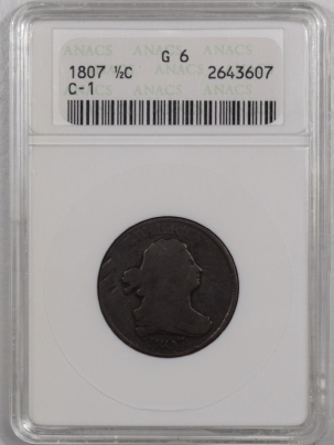 Draped Bust Half Cents 1807 DRAPED BUST HALF CENT – C-1 – ANACS G-6