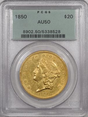 $20 1850 $20 LIBERTY HEAD GOLD – PCGS AU-50, OGH, PREMIUM QUALITY! LOOKS AU-55!