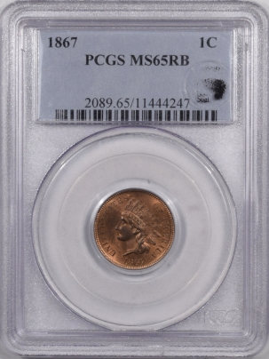 Indian 1867 INDIAN CENT – PCGS MS-65 RB EAGLE EYE, FLASHY GEM!