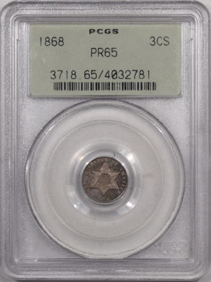 New Certified Coins 1868 THREE CENT SILVER PCGS  PR-65, PREMIUM QUALITY & OLD GREEN HOLDER!