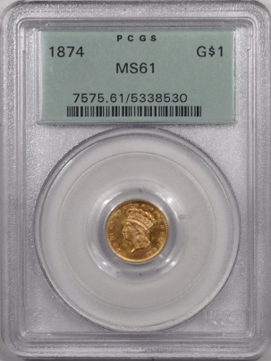 $1 1874 $1 DOLLAR GOLD – PCGS MS-61 LOOKS MS-63! PREMIUM QUALITY! OGH!