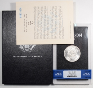 Morgan Dollars 1884-CC MORGAN DOLLAR GSA WITH BOX AND CARD – NGC MS-64