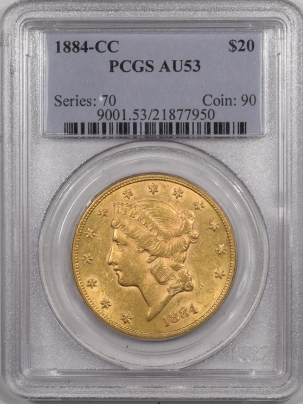 $20 1884-CC $20 LIBERTY HEAD GOLD – PCGS AU-53 PREMIUM QUALITY!