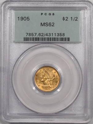 $2.50 1905 $2.50 LIBERTY HEAD GOLD – PCGS MS-62, OGH PREMIUM QUALITY! LOOKS MS-63+
