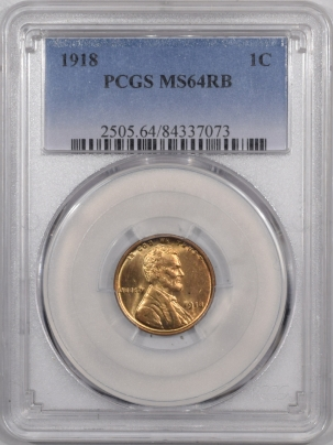 Lincoln Cents (Wheat) 1918 LINCOLN CENT – PCGS MS-64 RB PREMIUM QUALITY!