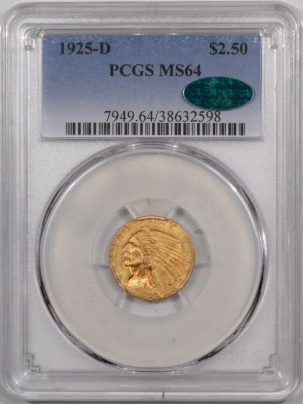 $2.50 1925-D $2.50 INDIAN HEAD GOLD – PCGS MS-64 PRETTY PREMIUM QUALITY! CAC APPROVED!