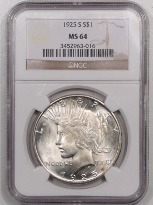 New Certified Coins 1925-S PEACE DOLLAR NGC MS-64, ORIGINAL WHITE!