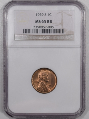 Lincoln Cents (Wheat) 1929-S LINCOLN CENT – NGC MS-65 RB
