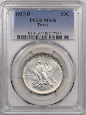 New Certified Coins 1937-D TEXAS COMMEMORATIVE HALF DOLLAR – PCGS MS-66