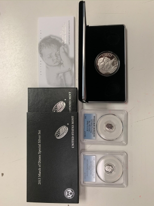 Modern Commems 2015 MARCH OF DIMES ROOSEVELT SILVER 3 PC SET 2 PCGS PR-69 DIMES & SILVER DOLLAR