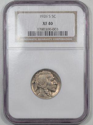 Buffalo Nickels 1926-S BUFFALO NICKEL NGC XF-40