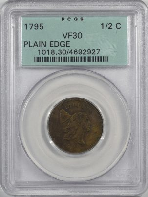 Coin World/Numismatic News Featured Coins 1795 LIBERTY CAP HALF CENT – PLAIN EDGE PCGS VF-30