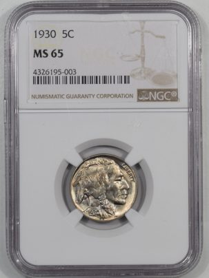 Buffalo Nickels 1930 BUFFALO NICKEL NGC MS-65
