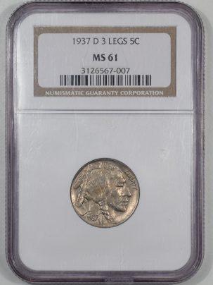 Buffalo Nickels 1937-D BUFFALO NICKEL – 3 LEGS NGC MS-61
