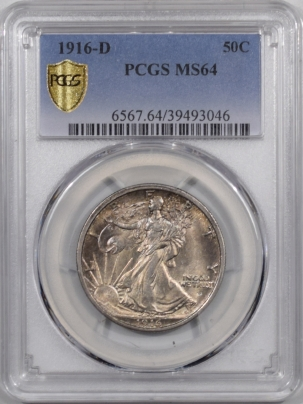New Certified Coins 1916-D WALKING LIBERTY HALF DOLLAR PCGS MS-64 FRESH & PQ!
