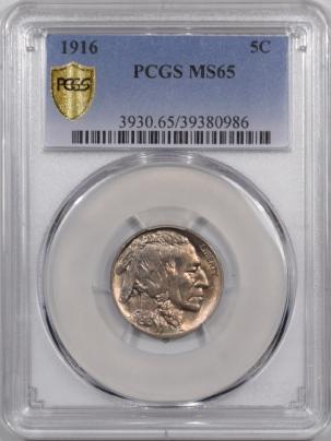 Buffalo Nickels 1916 BUFFALO NICKEL PCGS MS-65