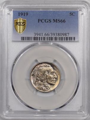 Buffalo Nickels 1919 BUFFALO NICKEL PCGS MS-66
