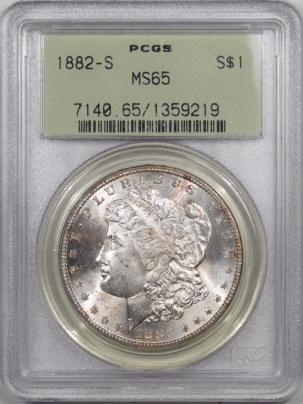Morgan Dollars 1882-S MORGAN DOLLAR  – PCGS MS-65, PREMIUM QUALITY! OLD GREEN HOLDER