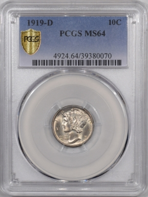 Mercury Dimes 1919-D MERCURY DIME PCGS MS-64 PREMIUM QUALITY! LOOKS MS-65!