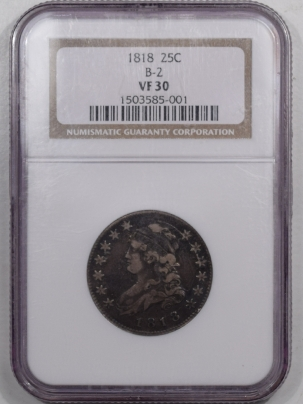 Capped Bust Quarters 1818 CAPPED BUST QUARTER B-2 – NGC VF-30
