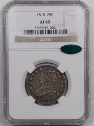 CAC Approved Coins 1818 CAPPED BUST QUARTER – NGC XF-45 FRESH & SEMI PL! CAC APPROVED!