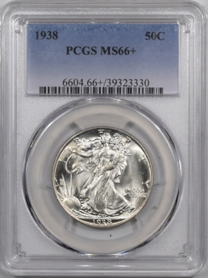 New Certified Coins 1938 WALKING LIBERTY HALF DOLLAR PCGS MS-66+ BLAST WHITE AND PREMIUM QUALITY!