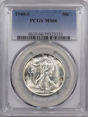 New Certified Coins 1940-S WALKING LIBERTY HALF DOLLAR PCGS MS-66 FRESH & FLASHY!