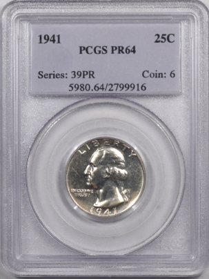New Certified Coins 1941 PROOF WASHINGTON QUARTER – PCGS PR-64