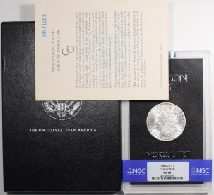Morgan Dollars 1884-CC MORGAN DOLLAR GSA WITH BOX & CARD – NGC MS-63