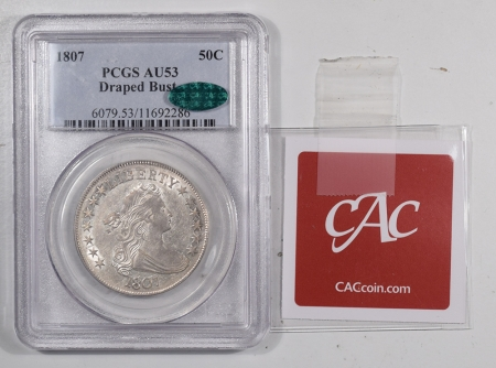 CAC Approved Coins 1807 DRAPED BUST HALF DOLLAR – PCGS AU-53 FRESH, FLASHY, SUPER PQ! CAC APPROVED!