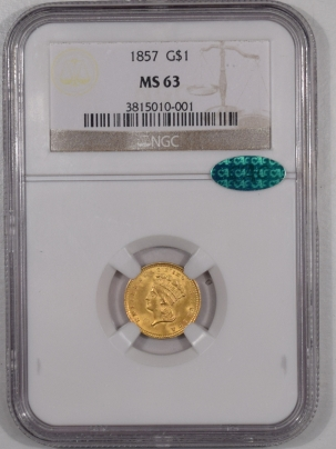 $1 1857 $1 LIBERTY HEAD GOLD – NGC MS-63 PREMIUM QUALITY LOOKS MS-64+ CAC APPROVED!