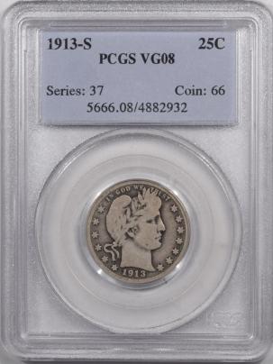 Coin World/Numismatic News Featured Coins 1913-S BARBER QUARTER – PCGS VG-8 ORIGINAL & NICE!