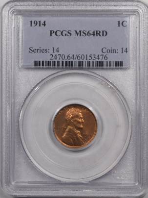 Lincoln Cents (Wheat) 1914 LINCOLN CENT – PCGS MS-64 RD PREMIUM QUALITY! LOOKS GEM!
