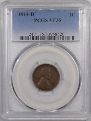 Lincoln Cents (Wheat) 1914-D LINCOLN CENT – PCGS VF-35