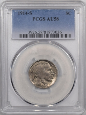 Buffalo Nickels 1914-S BUFFALO NICKEL – PCGS AU-58