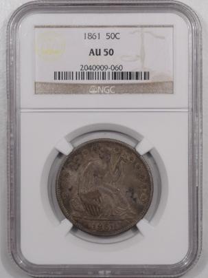 Liberty Seated Halves 1861 SEATED LIBERTY HALF DOLLAR – NGC AU-50, ORIGINAL!