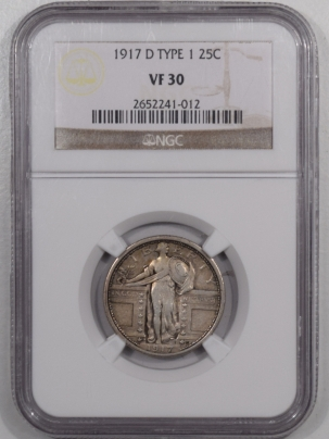 New Certified Coins 1917-D STANDING LIBERTY QUARTER – TY I – NGC VF-30, PLEASING!