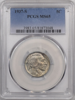 Buffalo Nickels 1937-S BUFFALO NICKEL – PCGS MS-65